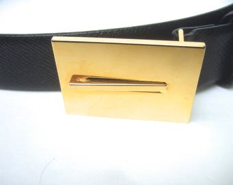 Sleek Italian Black Leather Gilt Buckle Women's Belt