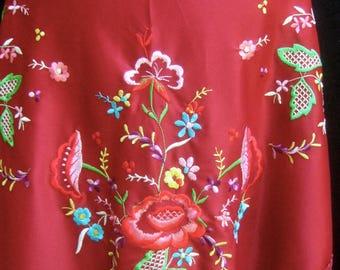 1970s Burgundy Embroidered Poly knit Fringe Shawl