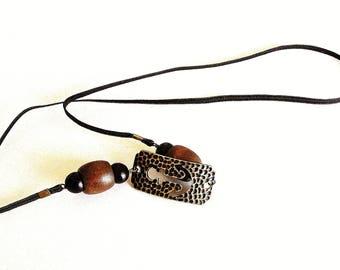 Loc Tie:  Antique Gold and Black Hammered Open-Design Anchor Loc Tie