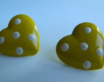 Yellow Polka Dot Heart Shape Studs, Polka Dot Heart Earrings, Yellow Heart Earrings, Yellow Polka Dot Earrings, Bright Polka Dot Earrings