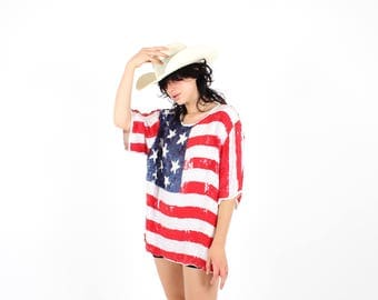 80s SEQUIN Stars & Stripes Novelty Patriotic American USA Flag Pop Art Loose Relaxed Free Size Mini Tee Dress Top