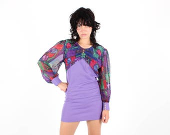 Early 80s Psychedelic BALLOON Bubble Sleeve Flower Power Pop Art Babydoll Bandage / Bodycon Purple Mini Dress - Gucci Vibes