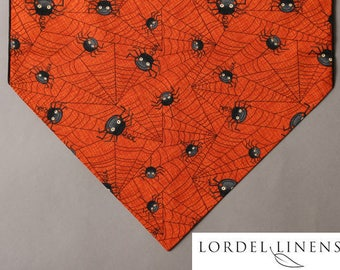 extra long halloween table runner black spiders and spider webs on orange 90u201d