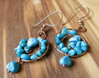 Turquoise Canyon Copper Wirework Earrings