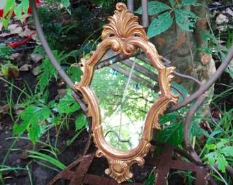 Mirror, Gold Mirror, Italianate, Baroque Mirror, Gold Frame, Cottage Mirror, 1970s, Vintage Home Decor, Vintage Wall Decor, Wall Hanging