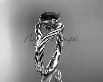 Platinum Black Diamond twisted rope engagement ring RP8125
