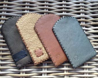 CLEARANCE SALE Handstitched in UK various colours: golden brown, bronze, tan or grey leather mobile phone case lined in black/brown felt