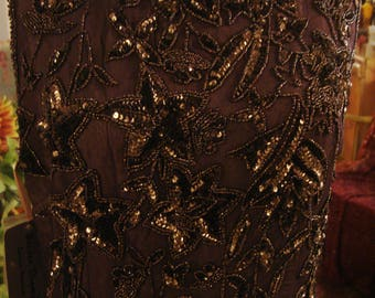 Vintage 1990s Chocolate Brown Boho Sequin Chic Long Gown