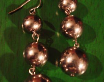 Vintage 1990s Boho Chic Silver Tri Bead Earrings