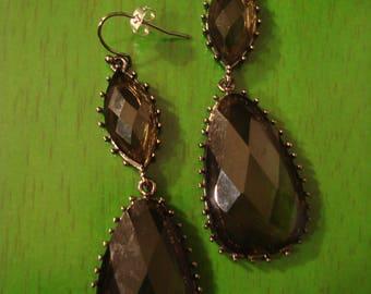 Vintage 1990s Boho Chic Smokey Black Drop Earrings
