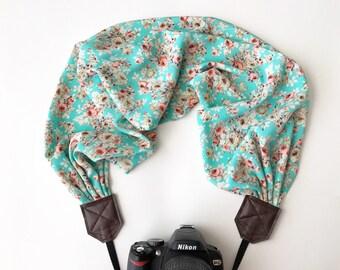 Scarf Camera Strap - dslr camera strap - camera neck strap - aqua teal pink cream coral floral