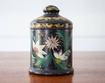 Antique Tole / Toleware Canister Tin Tea Caddy w/ Lid and Hand Painted Flowers - 1800's
