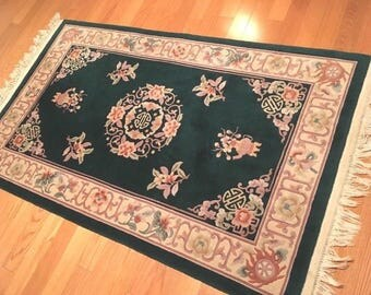 Vintage Wool Chinese Hand Knotted Emerald Green Rug 4x6' Aubusson Carpet