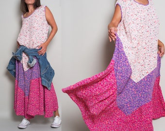 1990s// Mini Floral Color Block// Flowy Field Dress// OSFA