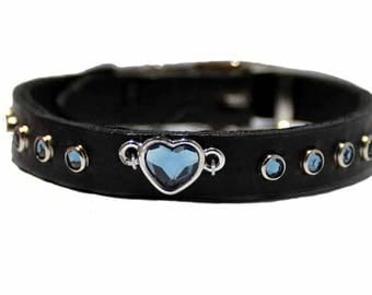Swarovski Heart Dog Collar / Small Dog Collar with Blue Swarovski Crystal Heart / Rhinestone Dog Collar