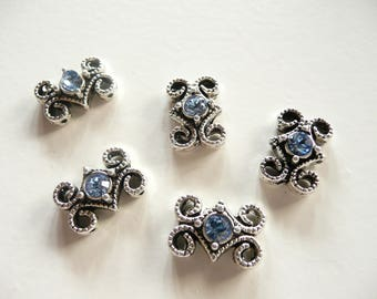 Swarovski Crystal  Antique Oxidized Silver Plated 2 Hole Slider Bead - 16x11mm - Light Sapphire Blue - 5 pieces