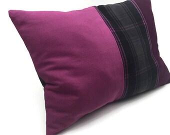Lumbar Throw Pillow, Decorative Pillow/Cushion Cover pink cotton Black White Gray plaid Wool Mix  Plaid Tartan Pillow Cover