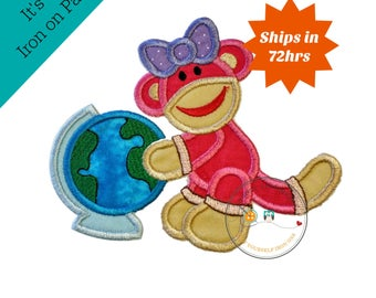 Back to school girl monkey with globe - Iron embroidered fabric applique patch embellishment-ready to ship