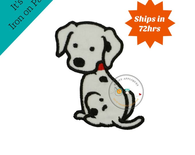 Iron on fabric applique- Dalmatian dog- Firefighter theme