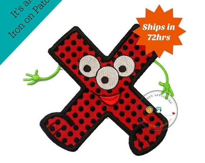 ON SALE NOW Monster letter X applique, initial embroidered patch, bright iron on applique letter, iron on letter embellishment, iron on mono