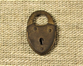 Miniature Padlock No Key- Vintage Jewelry Trinket Treasure Box Lock