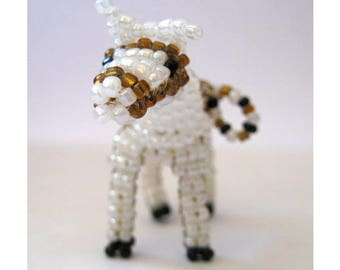 Miniature horse with seed beads and nylon thread
