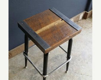 Limited Time Sale 10% OFF Reclaimed Antique Barnwood Rustic Industrial Bar Stool