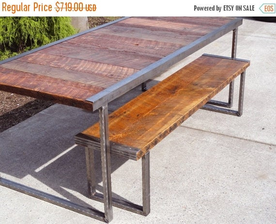Limited time sale 10 off 5 ft industrial dining table with for 10 ft dining table sale