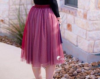 Corinne - Ombré Burgundy Tulle Skirt, Soft Tulle Skirt, 4-Layers Everyday Tutu, Adult Tulle Skirt, Plus Size Midi Tulle Skirt, Wholesale