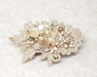 Blush Hair Comb- Wedding Hair Accessories- Floral Hairpiece- Blush Hairpiece- Champagne Pink Comb- Pearl bridal comb- Blush Pink Hairpiece