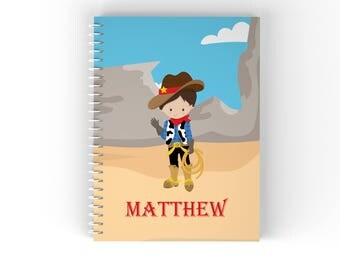 Cowboy Personalized Notebook - Cowboy Hand Wave Dessert with Name, Customized Spiral Notebook Back to School