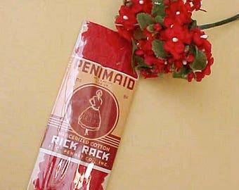 Pretty Vintage Cherry Red Rick Rack in Original Package