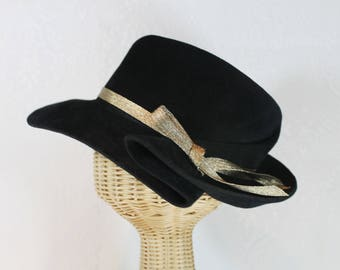 Women's Wide Brim Fedora in Black Velour Felt ~ Nellie Bly ~ 1930s, rain hat ~ handmade by Bonnet, your local Portland millinery