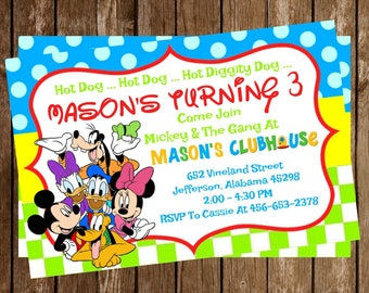 Mickey Mouse Clubhouse Disney Birthday Party Invitation Download 4 x 6 - Oh Toodles