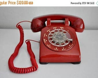 ON SALE Vintage  Red Rotary Phone Western Electric  Working Telephone 500DM