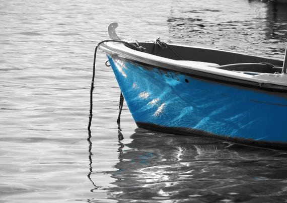 Sea Photography print Instant Digital Download nautical photo Blue Boat Greece Greek Islands Simple Life What a wonderfull world