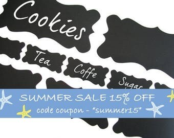 Labels Chalkboard Vinyl Decals Set of 10 To Organize Your Kitchen, Home, Office And More - ID558