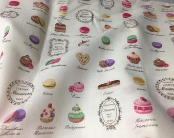 Half Yard Kawaii Laudree Patisserie French Pastry Macaroon Print Fabric