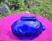 Cobalt Blue Glass Piggy Bank - Vintage