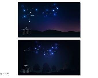 12x Constellation Calendar Wallpaper JPG Download,  Printable Calendar, 2018 Constellation Calendar, Digital Monthly Wallpaper Calendar.