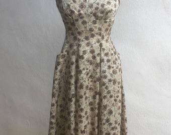 Vintage Rockabilly summer dress brown floral taffeta fabric pockets sz S