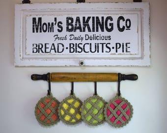 Pie Pot Holders - pie trivets - crocheted kitchen pie - kitchen decor - cherry pumpkin key lime strawberry pie trivets - pie potholder