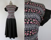 1940s Floral Peplum Black Rayon Faille Dress / Size Small
