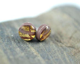Tiny Brown Dot Gold Leaf High Gloss Stud Earrings