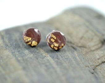 Tiny Brown Dot with half covered in Gold Leaf High Gloss Stud Earrings