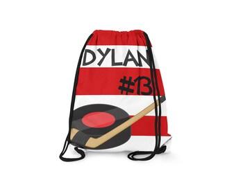 Personalized Drawstring Backpack - Hockey- Personalized Kids Drawstring Bag