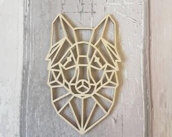 Geometric Wolf Shape, Geometric Animal, Geometric Decor, Geometric Wolf Head, Laser Cut Shape, Craft Supplies, Craft Blanks, Wood Blank