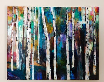 The Heart if it, 16 x 20 inches original acrylic painting on standard canvas, optional resin finish, colourful birch forest
