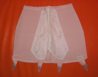 Unworn Vintage Girdle 1960s Pink Lace Stretch Elastic Open Bottom Girdle Garter Clips for Stockings NWOT Rockabilly Pinup S M waist to 27