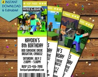 Minecraft Invitation, Minecraft Birthday Invitation, Minecraft Party Invitation